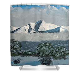 Shower Curtain featuring the painting Mt Princeton Co by Norm Starks