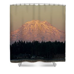 Mt Rainier Alpine Glow II Shower Curtain
