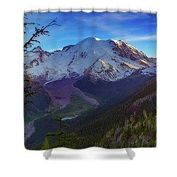 Mt Rainier At Emmons Glacier Shower Curtain by Ken Stanback