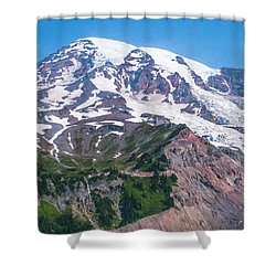 Mt Rainier Closeup Shower Curtain