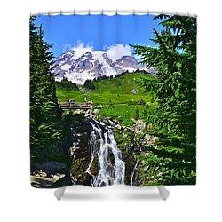 Mt. Rainier From Myrtle Falls Shower Curtain