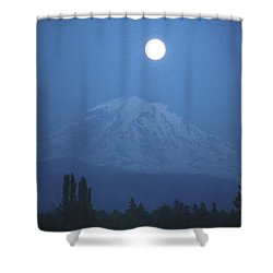 Mt Rainier Full Moon Shower Curtain