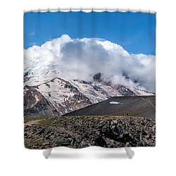 Mt Rainier In The Clouds Shower Curtain by Sharon Seaward