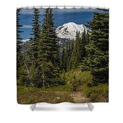 Mt. Rainier Naches Trail Portrait Shower Curtain