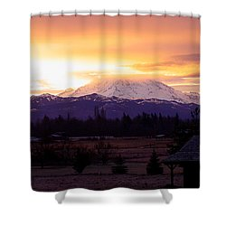 Mt. Rainier On Fire Shower Curtain