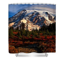 Mt. Rainier Paradise Morning Shower Curtain by Adam Jewell