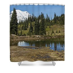 Mt Rainier Reflection Landscape Shower Curtain