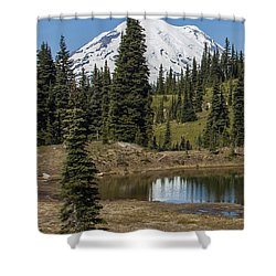 Mt Rainier Reflection Portrait Shower Curtain