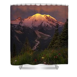 Mt. Rainier Sunrise Shower Curtain