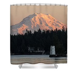 Mt. Rainier Sunset Glow Shower Curtain by Chuck Flewelling