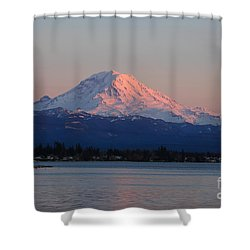 Shower Curtain featuring the photograph Mt Rainier Sunset by Peter Simmons