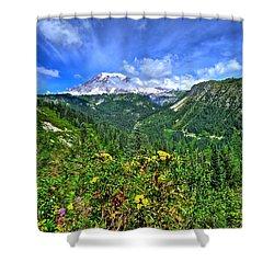 Mt. Rainier Through The Clouds  Shower Curtain