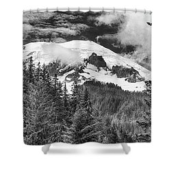 Shower Curtain featuring the photograph Mt Rainier View - Bw by Stephen Stookey