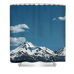 Mt Shasta With Heart-shaped Cloud Shower Curtain by Carol Groenen