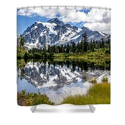 Shower Curtain featuring the photograph Mt Shuksan On Picture Lake 1 by Rob Green
