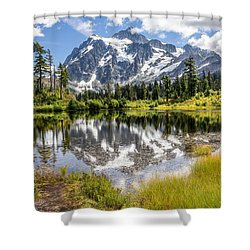 Shower Curtain featuring the photograph Mt Shuksan On Picture Lake 2 by Rob Green