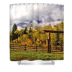 Mt Sopris Under The Clouds Shower Curtain by Ronda Kimbrow