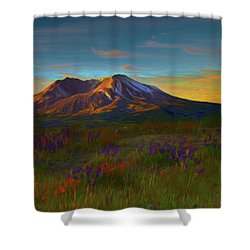 Mt. St. Helens Sunrise Shower Curtain