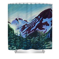 Shower Curtain featuring the painting Mt.roberts Juneau Alaska by Yulia Kazansky