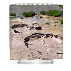 Mud Volcano Area In Yellowstone National Park Shower Curtain by Louise Heusinkveld