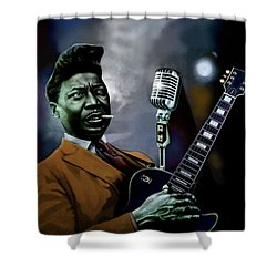 Shower Curtain featuring the mixed media Muddy Waters - Mick Jagger's Grandfather by Dan Haraga