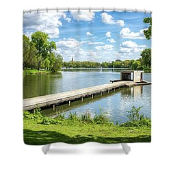 Muenster Aasee Panoramic View Shower Curtain
