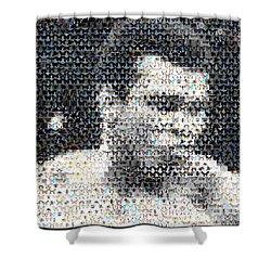 Muhammad Ali Butterfly Bee Mosaic Shower Curtain by Paul Van Scott