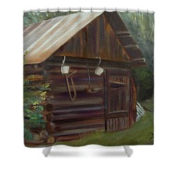 Shower Curtain featuring the painting Mulberry Farms Grainery by Donna Tuten