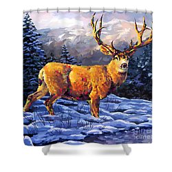 Mule Deer 2 Shower Curtain by Tim Gilliland