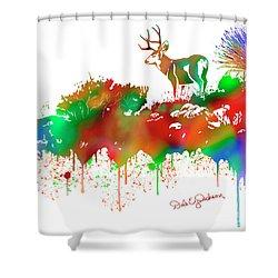 Mule Deer Buck Skyline Drip Pop Art II Shower Curtain