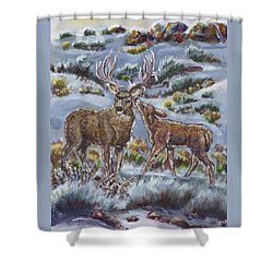 Shower Curtain featuring the painting Mule Deer Lovers From River Mural by Dawn Senior-Trask