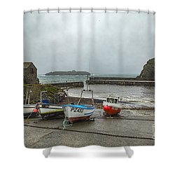 Shower Curtain featuring the photograph Mullion Cove Harbour by Brian Roscorla