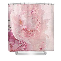 Artsy Pink Peonies Shower Curtain by Sandra Foster