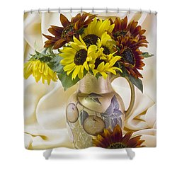 Multi Color Sunflowers Shower Curtain by Sandra Foster