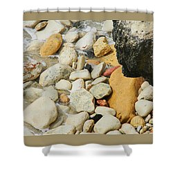 multi colored Beach rocks Shower Curtain by Expressionistart studio Priscilla Batzell
