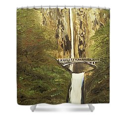 Shower Curtain featuring the mixed media Multnomah Falls by Angela Stout