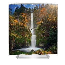 Multnomah Falls In Autumn Colors -panorama Shower Curtain