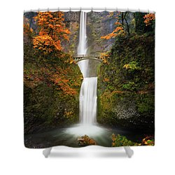 Multnomah Falls In Autumn Colors Shower Curtain
