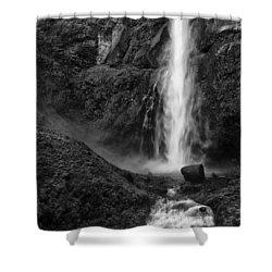 Multnomah Falls In Black And White Shower Curtain