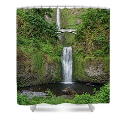Multnomah Falls In Spring Shower Curtain by Greg Nyquist
