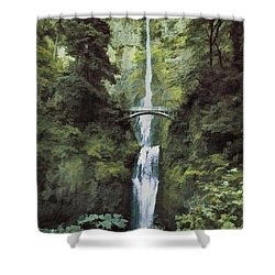 Multnomah Falls Painterly Shower Curtain by Diane Schuster