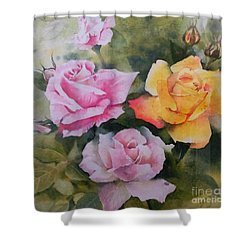 Shower Curtain featuring the painting Mum's Roses by Sandra Phryce-Jones