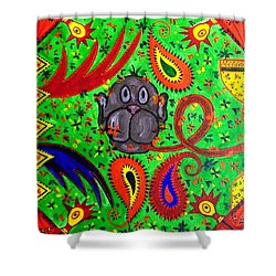Mun Moji-hookah Monkey Shower Curtain