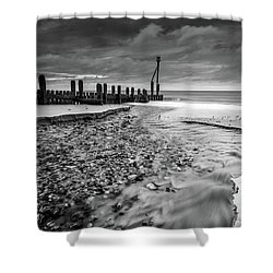 Mundesley Beach - Mono Shower Curtain