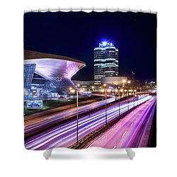 Shower Curtain featuring the pyrography Munich - Bmw City At Night by Hannes Cmarits