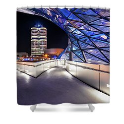 Shower Curtain featuring the pyrography Munich - Bwm Modern And Futuristic by Hannes Cmarits