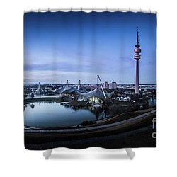 Shower Curtain featuring the photograph Munich - Watching The Sunset At The Olympiapark by Hannes Cmarits
