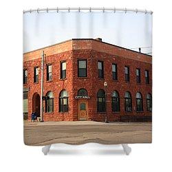 Munising Michigan City Hall Shower Curtain by Frank Romeo