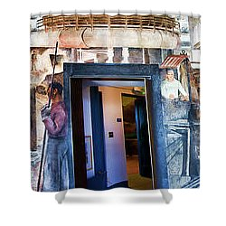 Mural Coit Tower Interior Panorama  Shower Curtain