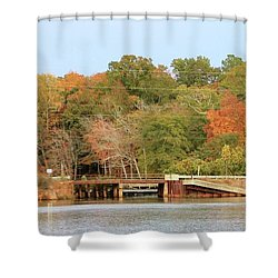 Shower Curtain featuring the photograph Murphy Mill Dam/bridge by Jerry Battle